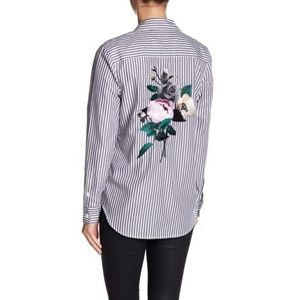 Equipment Brett Striped Floral Embroidered Shirt